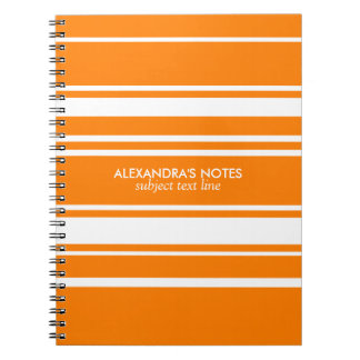 Modern Orange And White Stripes Pattern Notebook