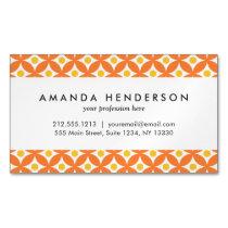Modern Orange and Yellow Circle Polka Dots Pattern Business Card Magnet