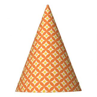 Modern Orange and Yellow Circle Polka Dots Pattern Party Hat