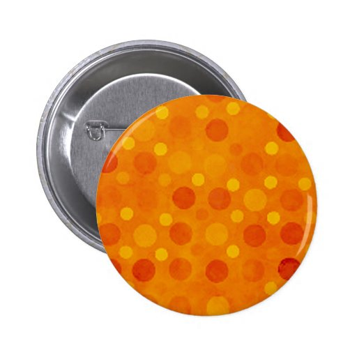 Modern Orange and Yellow Polka Dots Pinback Buttons