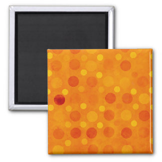 Modern Orange and Yellow Polka Dots 2 Inch Square Magnet