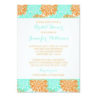 Modern Orange Aqua Flower Bridal Shower Card