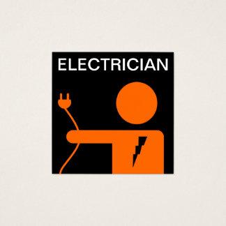Modern Orange Black Electrician Square Business Card
