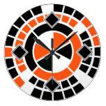 Modern orange black white Wheel Graphic Design Wallclocks