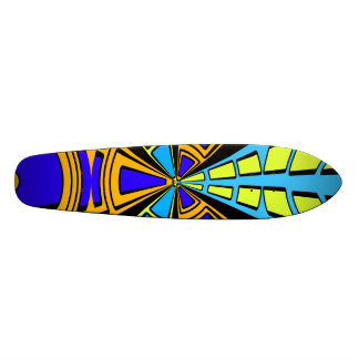 Modern orange blue yellow circular design skate deck