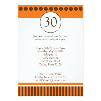 Modern Orange & Brown 5x7 Birthday Invitation