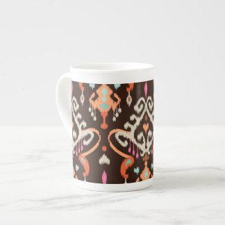 Modern orange brown girly ikat tribal pattern tea cup