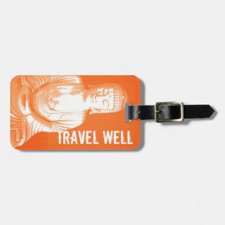 modern orange Buddha Gautama travel well tag