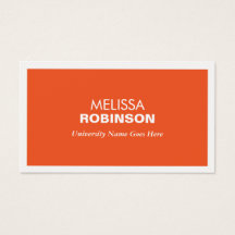 MODERN ORANGE BUSINESS CARD FOR COLLEGE STUDENTS
