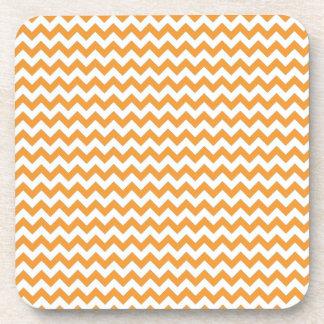 Modern Orange Chevrons Pattern Beverage Coaster