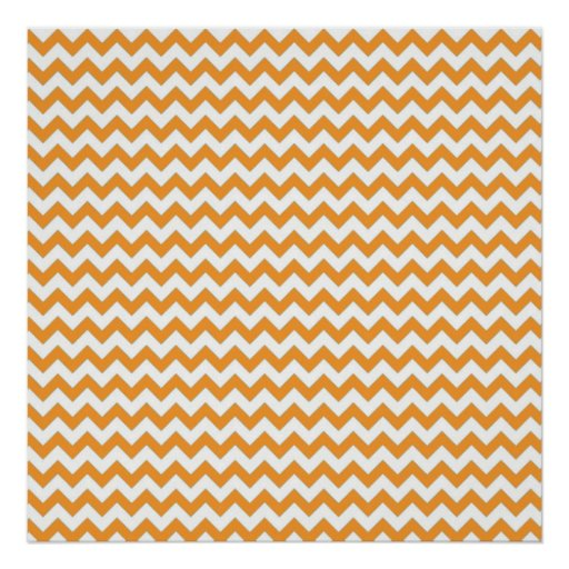 Modern Orange Chevrons Pattern Print
