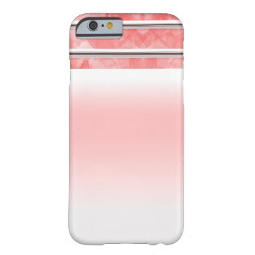 Beach Themed Modern Orange Coral Watercolor Stripe Personalized Barely There iPhone 6 Case