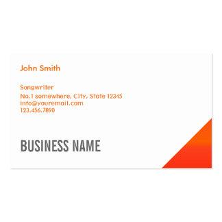Modern Orange Corner Songwriter Business Card