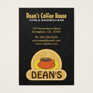 Modern Orange Cup Charcoal Black Coffee Shop Cafe Business Card