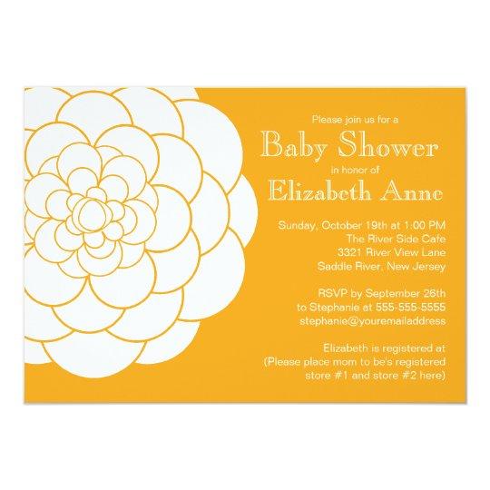 Modern Orange Dahlia Bloom Floral Baby Shower Card