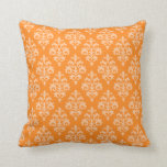 Modern Orange Damask Throw Pillow