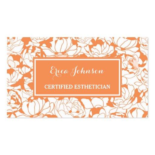 Modern orange floral girly certified esthetician business for Esthetician business card