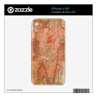 Modern Orange Floral Print on Stripped Background iPhone 4 Skins
