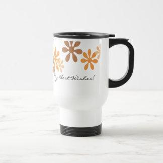 Modern Orange Flowers Travel Mug