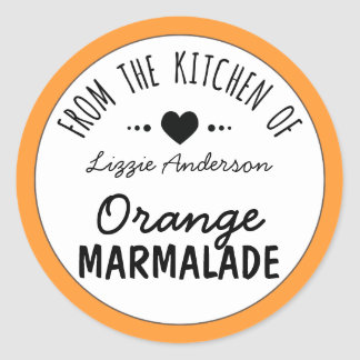 Modern Orange From the Kitchen of Label Classic Round Sticker