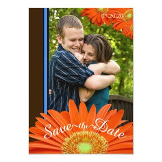Modern Orange Gerbera Daisy Save the Date Wedding Card