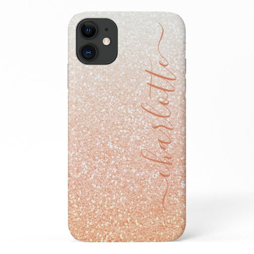 Modern Orange Glitter Girly Chic Personalized iPhone 11 Case