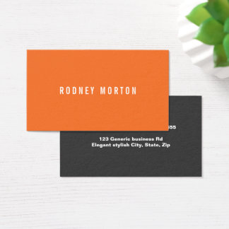 Modern orange gray simple generic professional business card