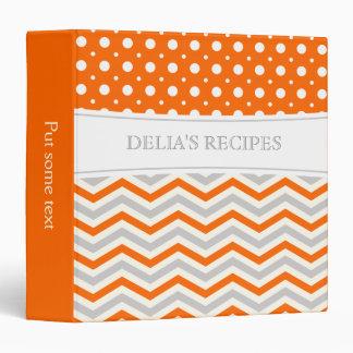 Modern orange, grey, white chevron and polka dot 3 ring binders