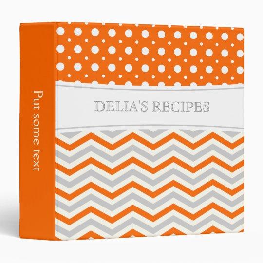 Modern orange, grey, white chevron and polka dot binder