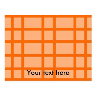 Modern orange grid pattern postcard