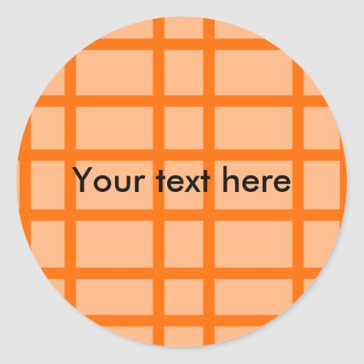 Modern orange grid pattern round stickers