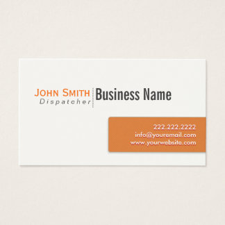 Modern Orange Label Dispatcher Business Card