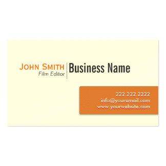 Modern Orange Label Film Editor Business Card