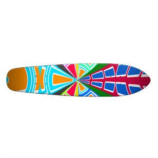 Modern orange light blue red white circular design custom skateboard