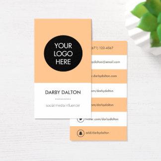 Modern Orange Logo Social Media Business Card