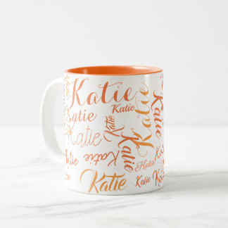 modern orange on white handwritten names Two-Tone coffee mug