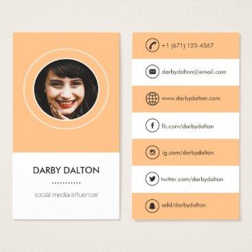 Professional Business Modern Orange Photo Social Media Business Card
