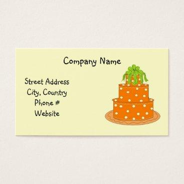 Professional Business Modern Orange Polka Dot Cake Design Business Card