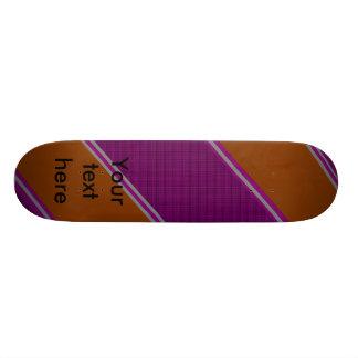 Modern orange purple diagonal stripes custom skate board