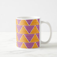 Modern Orange Purple  Triangle ZigZag Pattern Classic White Coffee Mug