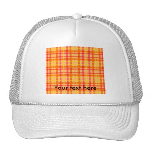Modern orange red and yellow plaid trucker hat