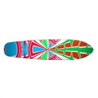 Modern orange red blue semi-circle design skate decks