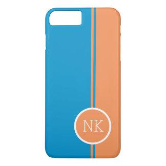 Modern orange round circle Monogram iPhone 7 Plus Case
