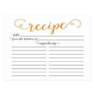 Modern Orange Script Bridal Shower Recipe Cards