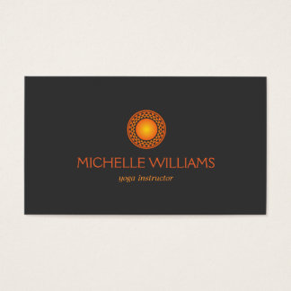 MODERN ORANGE SUN LOGO on DARK GRAY Business Card