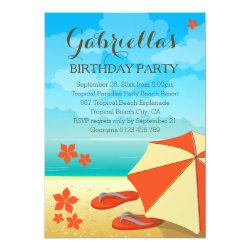 Modern Orange Tropical Beach Birthday Party Card