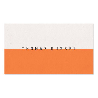 Modern orange white color block contemporary cool business card
