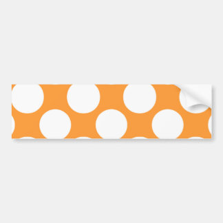Modern Orange White Polka Dots Pattern Bumper Sticker
