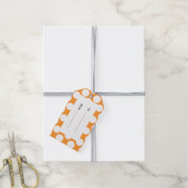 Modern Orange White Polka Dots Pattern Gift Tags