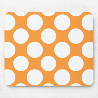 Modern Orange White Polka Dots Pattern Mouse Pad